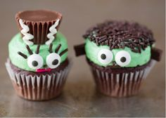 Cute and Easy Frankenstein Cupcakes