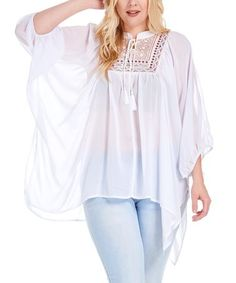 Love this White Sheer Embroidered Dolman Peasant Top - Plus on #zulily! #zulilyfinds