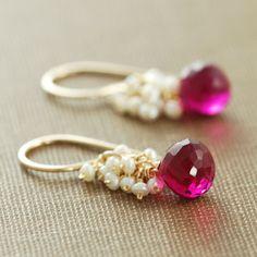 Raspberry Quartz Seed Pearl Earrings 14k Gold Fill by aubepine, $43.00