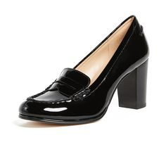 MICHAEL Michael Kors Bayville Heeled Loafers ($65) ❤ liked on Polyvore featuring shoes, loafers, black, monk-strap shoes, shiny shoes, cutout shoes, black cut out shoes and black strap shoes