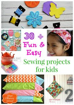 30 + fun and easy sewing projects for kids of all ages. I'm going to teach my niece some of these. More than 30 fun and easy sewing projects for kids of all ages. Perfect for teaching kids to sew, from toddlers to teens. Gifts and practical things to sew Easy Kids Sewing Projects, Sewing Projects For Beginners, Sewing For Kids, Sewing Tutorials, Sewing Crafts, Sewing Tips, Sewing Hacks, Sewing Ideas, Fun Projects
