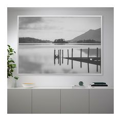BJÖRKSTA Picture and frame - aluminum color - IKEA