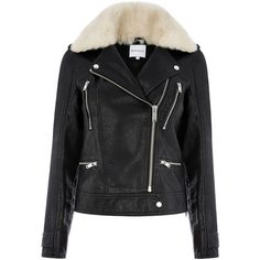 Warehouse Warehouse Fur Collar Faux Leather Biker Size 14 ($88) ❤ liked on Polyvore featuring outerwear, jackets, black, fake leather jacket, faux leather biker jacket, synthetic jacket, imitation leather jacket and vegan jackets