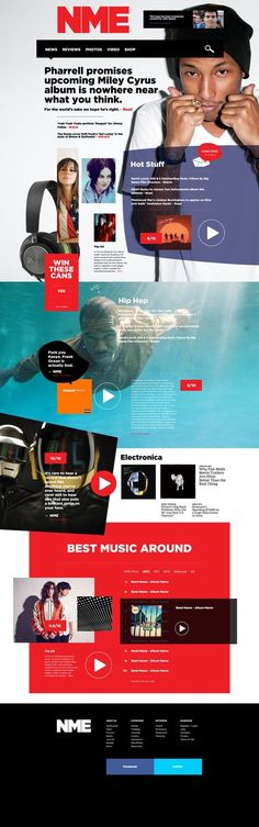 NME Music News Website Redesign Concept by John Speed, via Behance