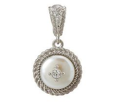 Judith Ripka Sterling 12.0mm Cultured Coin Pearl Enhancer with Diamonique