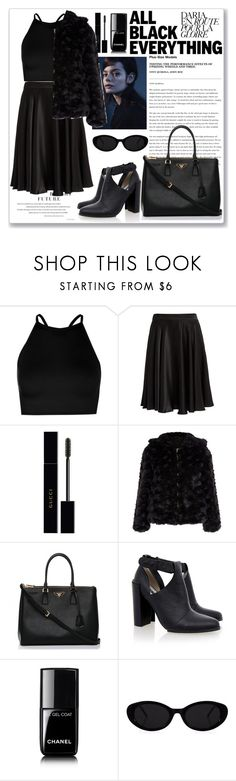"""""""Untitled #867"""" by neflaluna ❤ liked on Polyvore featuring Boohoo, WtR, Gucci, Prada, Senso, Chanel, black and allblack"""