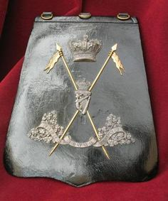 Victorian officer's undress sabretache with the badge of the Royal Irish Lancers. British Army Uniform, British Uniforms, Olympic Medals, Royal Guard, Irish, Boiled Egg, Military Uniforms, Victorian Era, Headdress