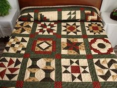 Patchwork Sampler Quilt -- terrific skillfully made Amish Quilts from Lancaster Amische Quilts, Fall Quilts, Sampler Quilts, Star Quilts, Quilt Blocks, Machine Quilting Tutorial, Quilting Tutorials, Quilting Projects, Colchas Country