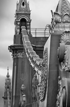 Hammersmith Bridge, London, UK - a suspension bridge that crosses the River Thames in west London.The current bridge, which is Grade II listed and was designed by the noted civil engineer Sir Joseph Bazalgette, is the second permanent bridge on the site. Oh The Places You'll Go, Places To Travel, Places To Visit, London City, London Style, West London, Tower Bridge London, Jolie Photo, Civil Engineering