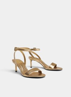 """Uterqüe Sweden Product Page - New in - View all - """"Uterqüe Codes"""" gold leather sandals - 950"""