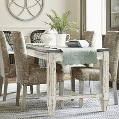 Love this zinc top table from Ballard Designs-Messina Dining Table Zinc Table, White Dining Table, Dining Room Table, Dining Chairs, Fur Chairs, Kitchen Tables, Kitchen Nook, Console Tables, Antique White Furniture