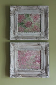 Bed of Roses I & II Shabby Chic Original Abstract by lotsahappy - absolutely love this duo!