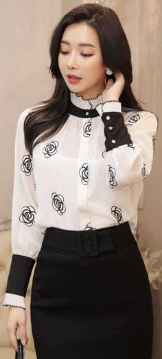 StyleOnme_Cubic Button Rose Embroidered Blouse #rose #floral #blouse #feminine #koreanfashion #kstyle #kfashion #seoul #blackhighheelswithdressblackhighheelsclassic