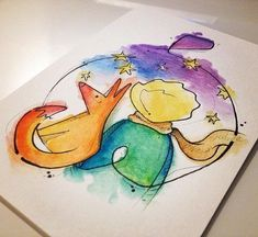 The little prince °.° The little prince °. Little Prince Fox, Little Prince Tattoo, Watercolor Drawing, Painting & Drawing, Watercolor Paintings, Cute Drawings, Tattoo Drawings, Tattoo Ink, Prince Drawing