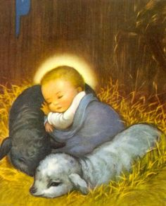 """""""And knew her not till she had brought forth her firstborn Son: and he called His Name JESUS. Christmas Scenes, Christmas Nativity, Christmas Pictures, Christmas Time, Christmas Baby, Vintage Christmas Cards, Vintage Holiday, Vintage Cards, Catholic Art"""