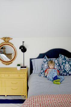 navy, yellow boys bedroom