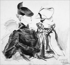 Model on the left wears an antelope beret by Caroline with a black astrakhan cape by Max; woman at right wears a grege angora beret rolled into a tricorne by Reboux with a breitschwantz and ermine cape by Max. Suzy, Caroline Reboux, Derby, Vogue, Paris Mode, Vintage Outfits, Vintage Hats, Vintage Clothing, Fashion Sketches
