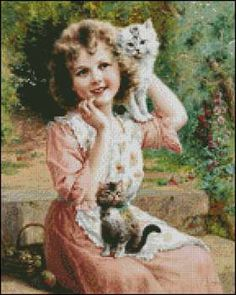 Happy Playmates Petite Pattern- Emile Vernon. Fine art cross stitch pattern. Stitch count 144w x 180h 70 colors http://www.artofstitching.com/index.php?main_page=product_info&cPath=4_6&products_id=1007