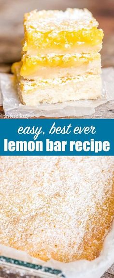 Bright, tangy lemon bars recipe with a shortbread crust and lemon custard filling. A simple powdered sugar dusting makes these fruit bars a classic! Lemon Bars Recipe {Easy Lemon Dessert with Shortbread Crust} via (easy holiday cookies simple) Köstliche Desserts, Delicious Desserts, Dessert Recipes, Healthy Lemon Desserts, Bar Recipes, Fruit Recipes, Brownie Recipes, Yummy Snacks, Summer Recipes
