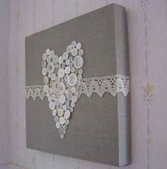 Button Heart with lace trim