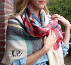 Monogrammed plaid blanket scarf by Rosa Gold