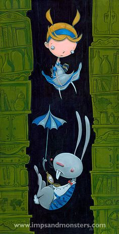 Love this piece of Alice and the White Rabbit falling down the rabbit hole.