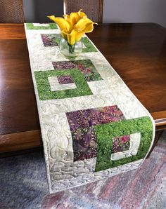 Quilted Tablerunner, Beige Green & Wine Modern Batik Table Runner, Handmade Reversible Table Quilt, Contemporary Marsala Green Dining Decor by FabriArts on Etsy