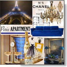Paris Apartment * Blue & Gold Living Room (Sophisticated, high maintenance) by calamity-jane-always on Polyvore featuring interior, interiors, interior design, home, home decor, interior decorating, Roberto Cavalli, Kim Seybert, Moser and Global Views