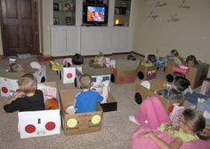 Love this (I literally remember making a drive-in cardboard car with my dad in 2nd grade to take to school the following day to get to watch a movie & have popcorn in the classroom, so fun to look back on) drive-in for the kiddos... so fun! I'll have to remind myself to give my future kids the same special memory~