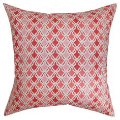 Bring a pop of color to your sofa or chaise with this charming cotton pillow, showcasing a geometric motif in pink, red, and white.  Prod...