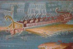 Trirremes. Detalle de un panel del Templo de Isis. Expuesto en el Museo Arqueológico de Nápoles, Italia.