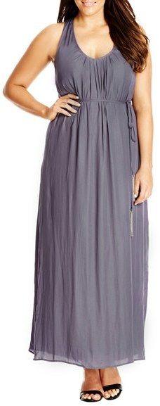 Plus Size Women's City Chic 'Knot Back' Maxi Dress, Size X-Large - Grey