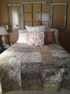 Make a headboard out of a large old window and add a few accents~ this lady\u0027s house is awesome. So many great repurpose decor ideas! & Make a headboard out of a large old window and add a few accents ... Pezcame.Com