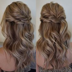 Bridesmaid hair Pretty Half up half down hairstyles - Pretty partial updo wedding hairstyle is a great options for the modern bride from flowy boho and clean contemporary Wedding Hairstyles For Long Hair, Fancy Hairstyles, Straight Hairstyles, Braided Hairstyles, Latest Hairstyles, Gorgeous Hairstyles, Hairstyle Ideas, Hair Ideas, Hairstyles 2018