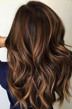 Long Wavy Ash-Brown Balayage - 20 Light Brown Hair Color Ideas for Your New Look - The Trending Hairstyle Golden Brown Hair, Brown Blonde Hair, Brown Hair With Highlights, Light Brown Hair, Brunette Hair, Dark Hair, Dark Brown, Blue Hair, Caramel Highlights
