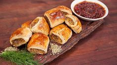 Pork & Fennel Sausage Rolls with Chilli Jam Recipe from Everyday Gourmet with Justine Schofield Jam Recipes, Pork Recipes, Great Recipes, Cooking Recipes, French Recipes, Pastry Recipes, Gourmet Recipes, Favorite Recipes, Chilli Jam