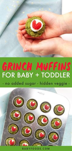 These Healthy Grinch Mini Muffins are the perfect holiday treat for baby and toddler! Made with no added sugar and packed with spinach - these muffins can be served for breakfast, lunch, snack or even a festive dessert! #baby #toddler #muffins #grinch #christmas Healthy Muffin Recipes, Baby Puree Recipes, Healthy Muffins, Baby Food Recipes, Fun Recipes, Baby Muffins, Mini Muffins, Toddler Muffins, Healthy Store Bought Snacks