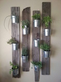 Creative Indoor Vertical Wall Gardens • Lots of Great Ideas and Tutorials! Including, this idea of small tin buckets attached to repurposed wood. Love this look!: