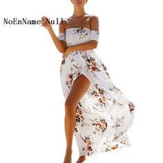 >> Click to Buy << NoEnName_Null Beach Boho Summer Dress 2017 Women Floral Elegant Off Shoulder Dress White Sexy Split Long Maxi Dresses Slash neck #Affiliate