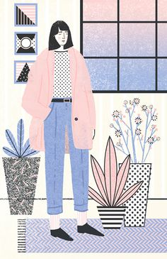 grain editAbbey Lossing - - Abbey Lossing is a Brooklyn based illustrator who crafts charming drawings and animated gifs full of lively characters and whimsical narratives. Her pastel color palettes and playful use of halfton…. Art And Illustration, Pattern Illustration, Illustrations And Posters, Character Illustration, Animal Illustrations, Drawn Art, Poster S, Grafik Design, Graphic Design Inspiration