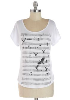 Note to Self Top. Music makes your soul soar, so sport the staff-perched and flying birds on this white T-shirt. #white #modcloth