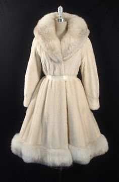 Vintage 1950s - 60s Genuine Tourmaline Mink + Arctic Fox Fur Princess Dress Coat.