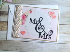 Wedding card, handmade wedding cards, homemade cards, shabby chic wedding card, floral wedding card, Mr and Mrs card by PinkyPromiseBargains on Etsy