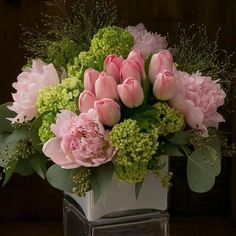 Floral Arrangement - springtime classics all dressed up in shades of blush-pale pink peonies, delicate pink french tulips, and green viburnum Arrangements Ikebana, Spring Flower Arrangements, Beautiful Flower Arrangements, Floral Centerpieces, Floral Arrangements, Centrepieces, Birthday Flower Arrangements, Tall Centerpiece, Centerpiece Wedding