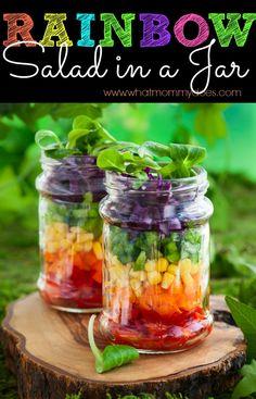Rainbow Salad in a Jar - The Perfect Summer Picnic Idea