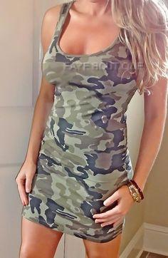 CAMO CAMOUFLAGE Print Tight Sexy stretch Bodycon TANK Short Club Mini Dress #NEW #StretchBodycon #Clubwear