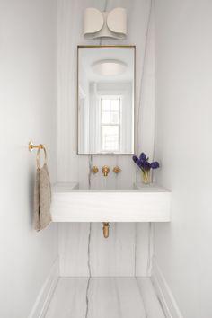 Ashe Leandro powder room with custom marble sink 📸 Chic Bathrooms, Modern Bathroom, Small Bathroom, Modern Vanity, Bathroom Sinks, White Bathroom, Bathroom Interior Design, Decor Interior Design, Interior Styling