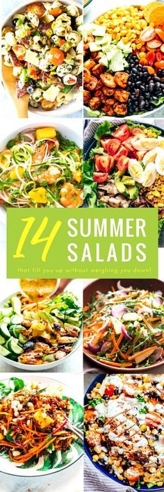 These 14 epic summer salad recipes are all you need to battle the heat while still eating healthy. And I don't mean eating bird seed healthy, but flavah-bomb salad recipes that are meals-by-themselves. These salad recipe ideas have recipes for chicken salads, pasta salads, whole grain salads, vegetarian salads, and salads dressings. #salad #recipes #healthy #fastdinners #lunch #quick via @my_foodstory