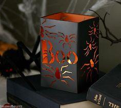 Halloween Luminary Lantern Light Candle Holder Spider Black Decor Partylite Jack #Luminary