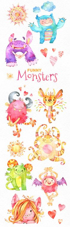 Funny Monsters. Watercolor clip art cute by StarJamforKids on Etsy